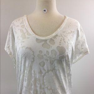 Gap White See Threw Floral Shirt Size M (B-91)
